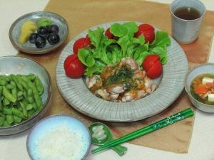 油淋鶏・枝豆・スープ
