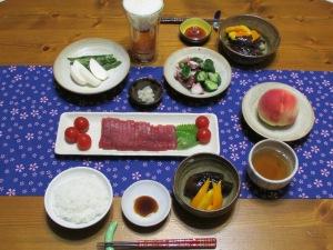 鮪刺身・茄子とパプリカの煮浸し・蛸&きゅうり