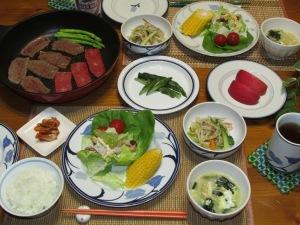 フライパンde焼き肉・ナムル・中華スープ・サラダetc…