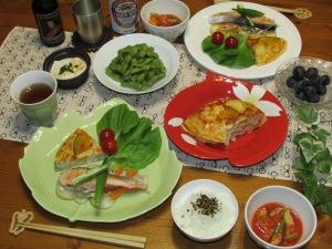トマトスープ・サーモンと野菜の蒸し焼き・スペイン風オムレツ