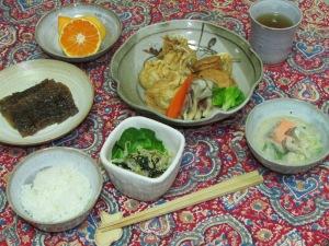 豆乳と鮭の味噌スープ・煮物・祖母の奈良漬け